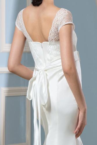 Vestido de novia Escote Cuadrado Imperio Cintura Lazos Playa Hasta el suelo - Página 5
