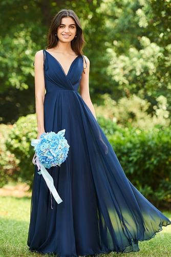 Vestido de dama de honor largo Invierno Sencillo Gasa Drapeado Blusa plisada - Página 1
