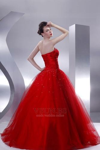 Vestido de quinceañeras Sin tirantes Rojo tul Invierno Cola Capilla Con lentejuelas - Página 4