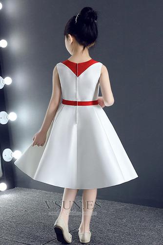 Vestido niña ceremonia Corte-A Natural Botón Otoño Hasta la Rodilla Cremallera - Página 3