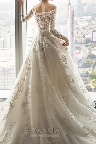 Vestido de novia Escote con Hombros caídos Corte-A Verano Encaje Manga larga - Página 1
