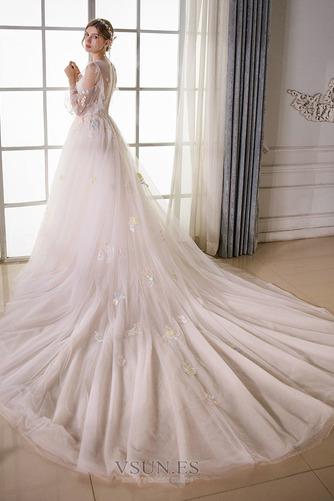 Vestido de novia Sala largo Barco Manga larga tul Natural - Página 2