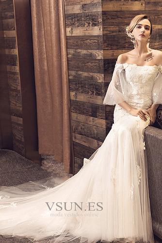 Vestido de novia Natural La mitad de manga Escote con Hombros caídos - Página 1