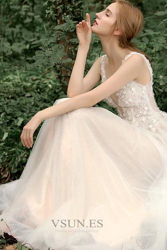Vestido de novia Corte-A Sin mangas Natural Verano Flores Espalda Descubierta - Página 6
