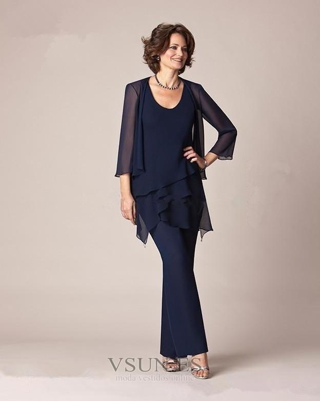 41627ddf9b Vestido de madre traje de pantalones Natural Alto cubierto 2 piezas Elegante  Manga de longitud 3