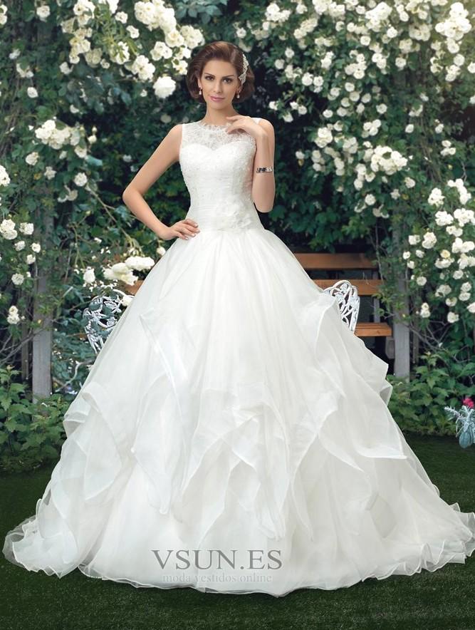 vestido de novia cola capilla cascada de volantes organza modesto