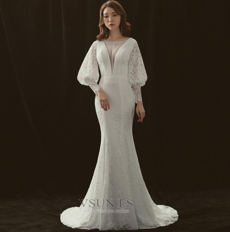 vestido de novia manga larga natural barco manga farol encaje corte