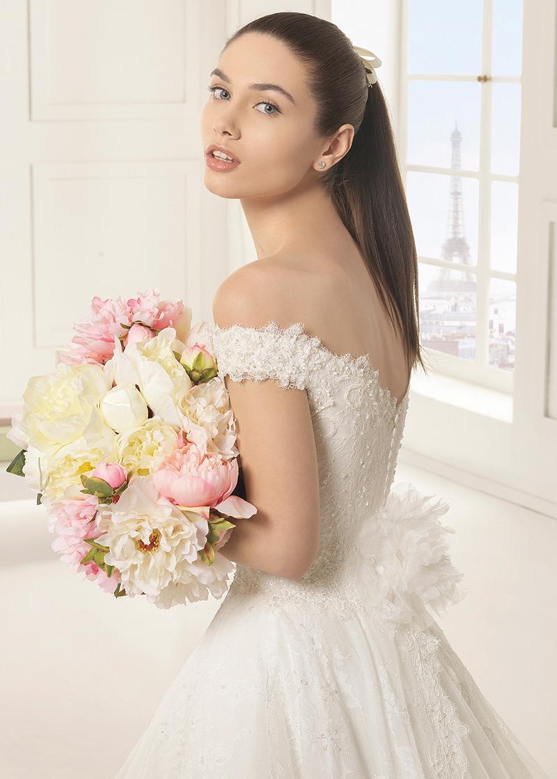 Vestido de novia largo Escote con Hombros caídos primavera Espalda ...