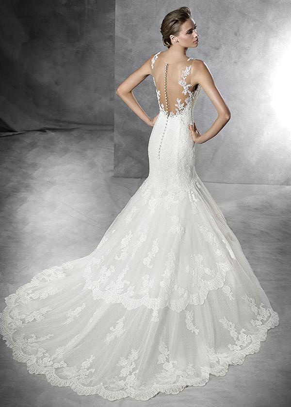vestido de novia cola capilla natural moderno pura espalda botón