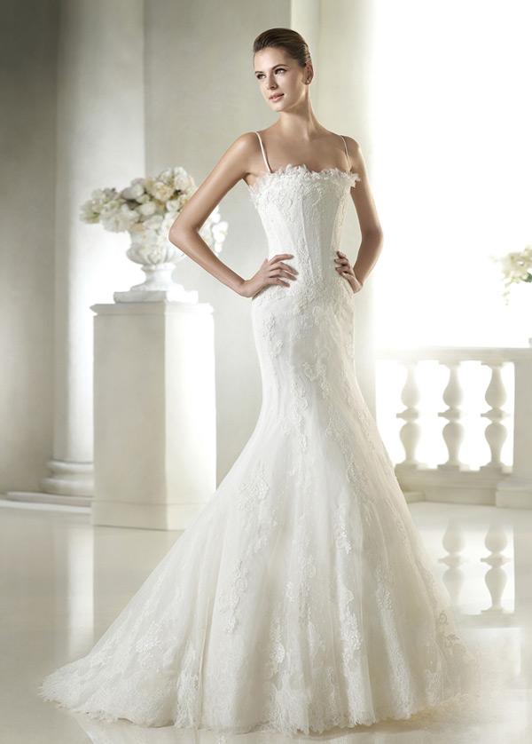 vestido de novia corte sirena encaje largo espalda descubierta