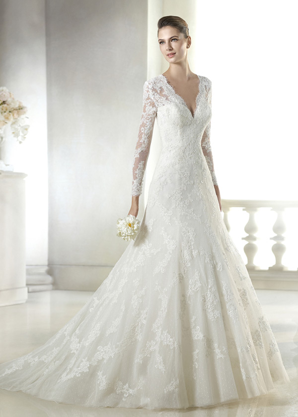 vestido de novia con velo corte-a escote en v sala encaje mangas