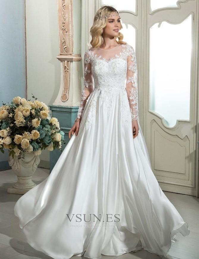 Vestidos de novia modernos manga larga