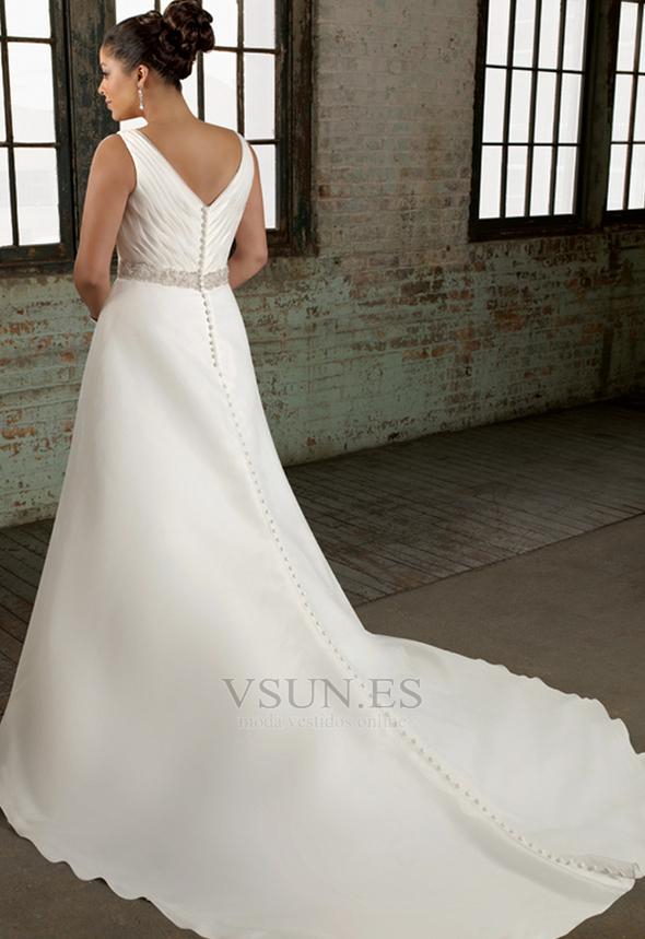 91882a3d6 ... Vestido de novia Cola Catedral Corte princesa Satén Abalorio Escote en  V - Página 2 ...