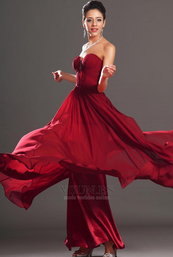 dd7424eeea81e ... Vestido de noche Rojo Oscuro Sin tirantes Para Imperio Natural  Cremallera - Página 4 ...