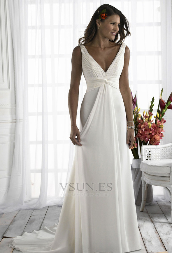 Vestido de novia Diosa vestido de novia Escote en V Plata Imperio ...