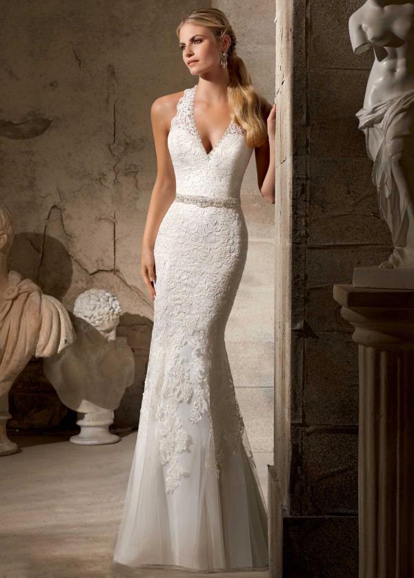 vestido de novia cristal sin mangas encaje escote halter cola