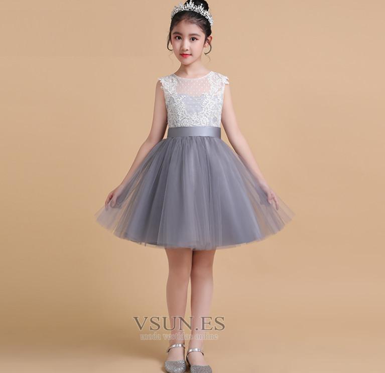 Vestido Niña Ceremonia Verano Tul Elegante Apliques Joya Sin