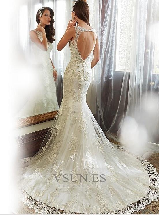vestido de novia corte sirena encaje espalda con ojo de cerradura