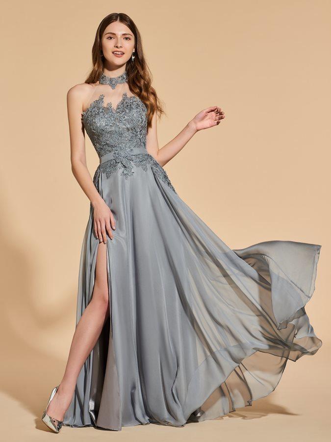 e6dda35eae3 Vestido de fiesta Elegante Capa de encaje Escote con cuello Alto Corte-A -  Página ...