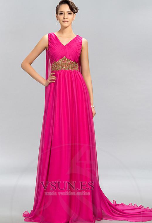 6949d352d Vestido de noche Escote en V Blusa plisada Natural largo Formal Gasa ...
