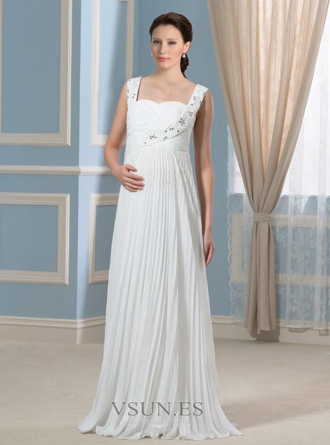 63891f1b7 Vestido de novia Imperio Embarazadas Blusa plisada Elegante Imperio Cintura  - Página 1 ...