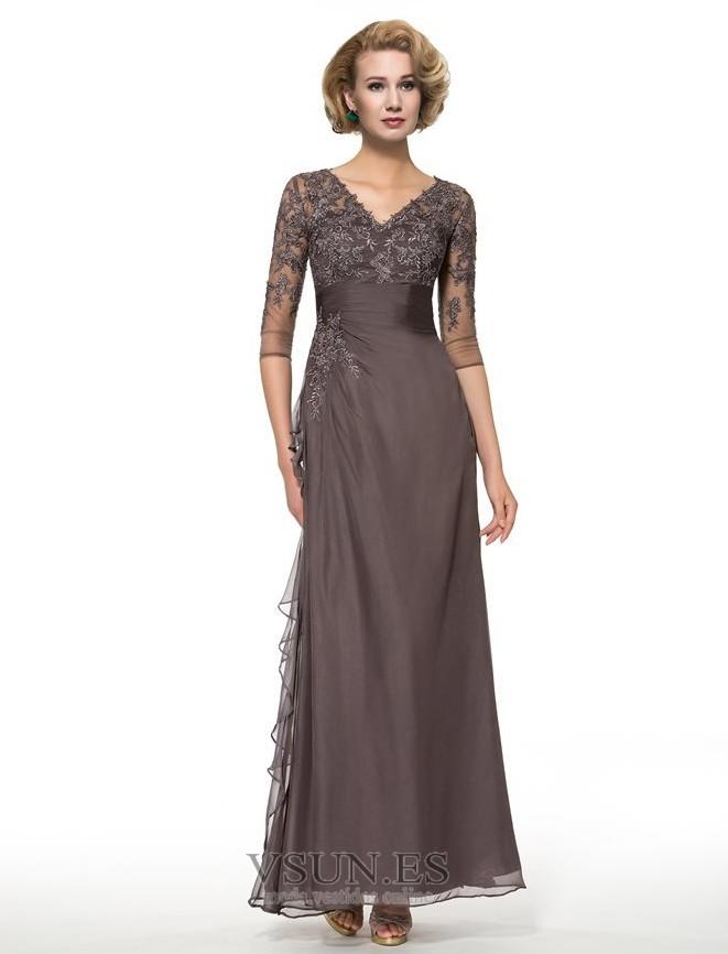 472c475e3c Vestido de madrina Verano Corte-A Manga de longitud 3 4 Escote en V ...