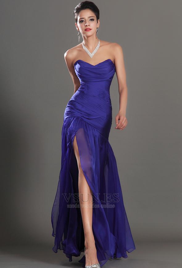 Moderno Sin Tirantes Vestidos De Dama Azul Festooning - Vestido de ...