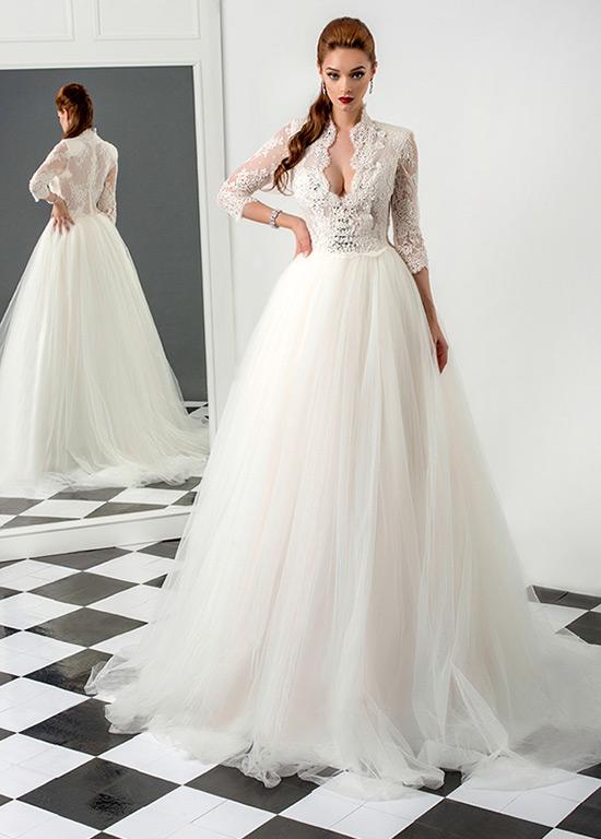 vestido de novia largo cristal otoño natural encaje escote con