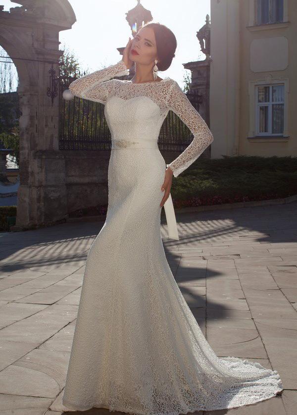 vestido de novia corte sirena mangas illusion clasicos cremallera