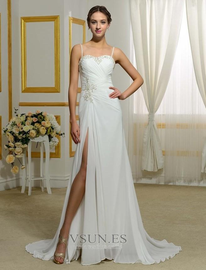 vestido de novia corte recto playa elegante apertura frontal espalda