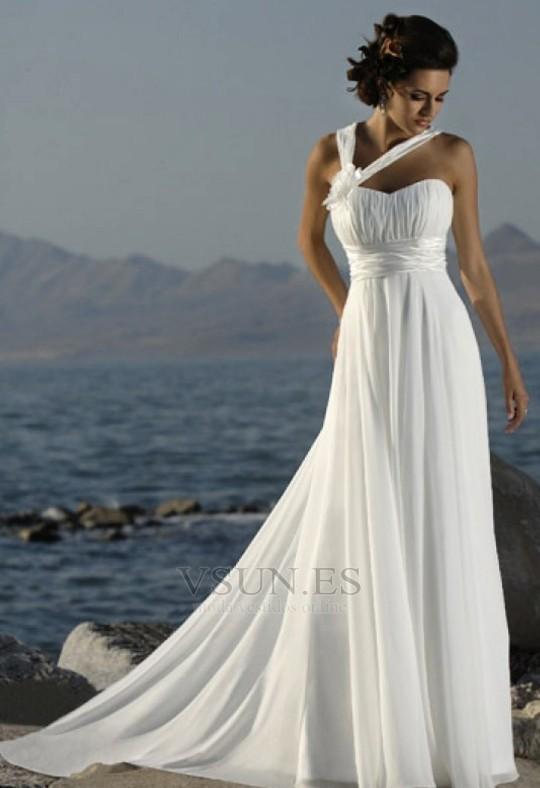 vestido de novia espalda medio descubierto primavera gasa plisado
