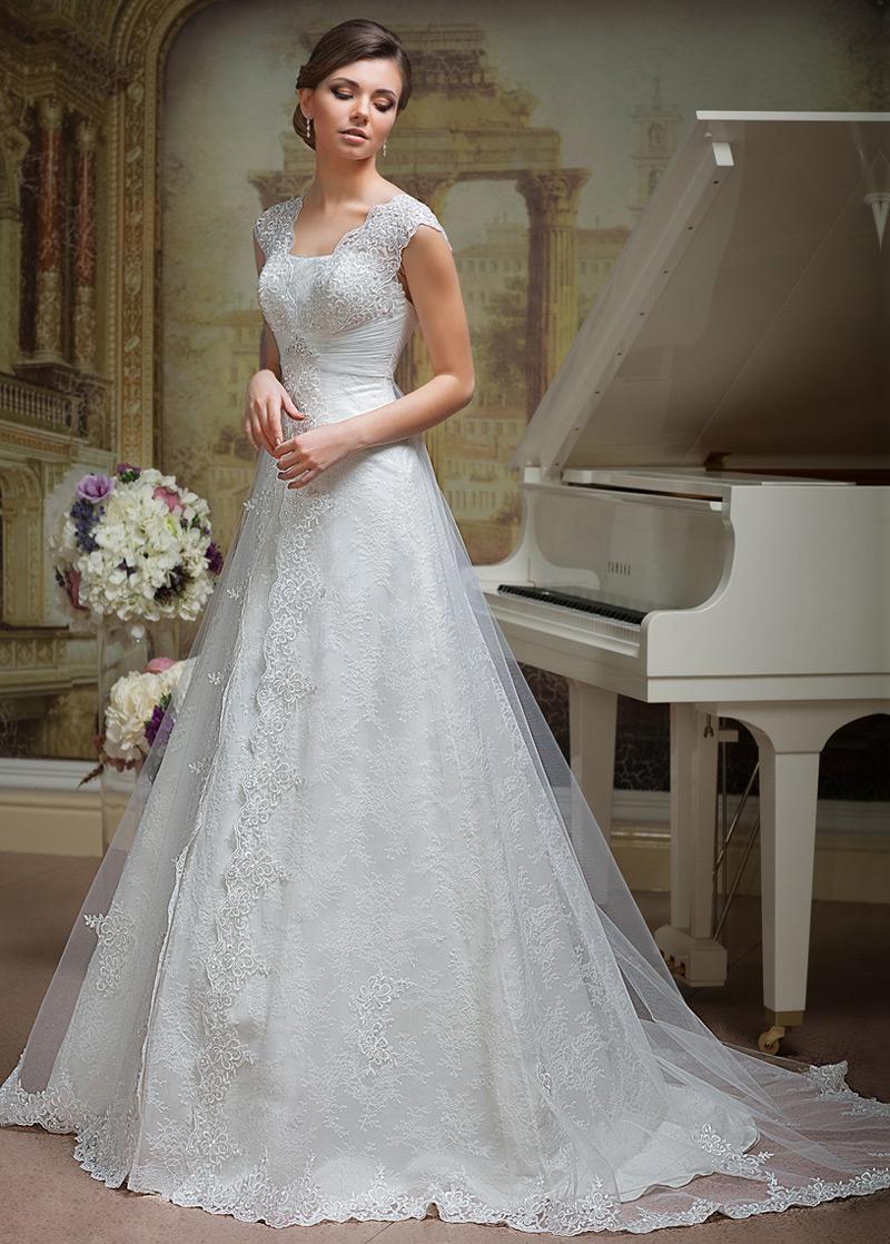 Vestido de novia Verano Corte-A Cordón Escote en V Formal Sala - vsun.es