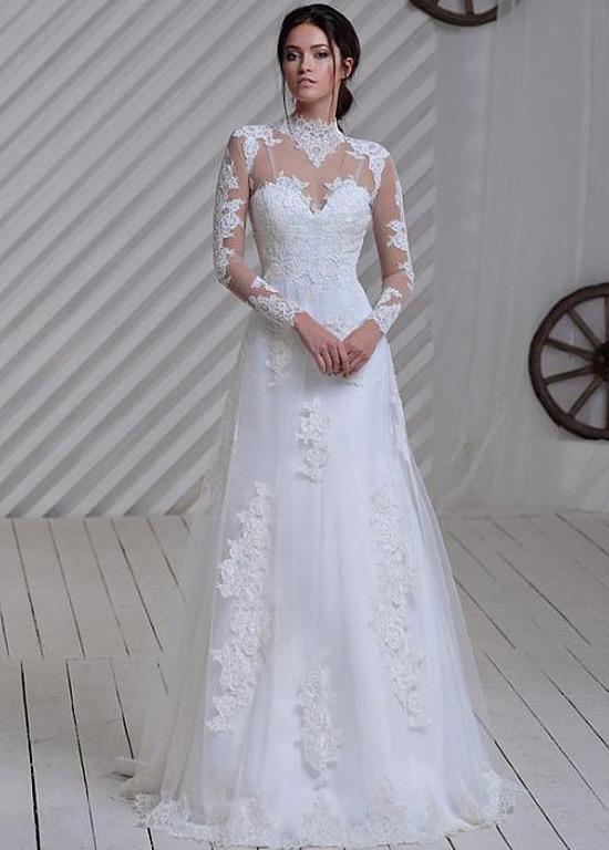 vestido de novia manga larga iglesia apliques natural clasicos alto