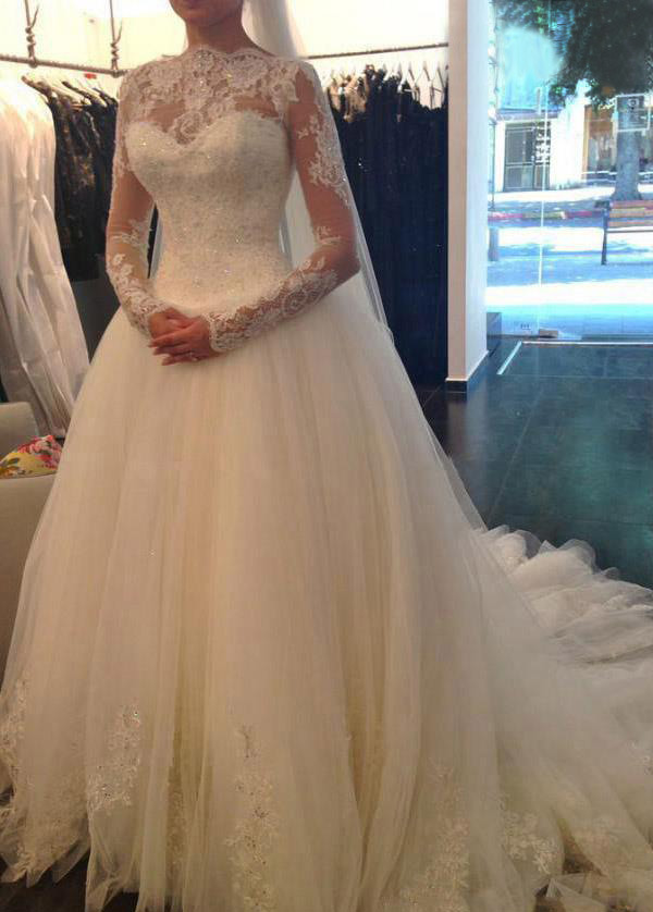 Vestido de novia Mangas Illusion Con velo Encaje Cintura Baja ...