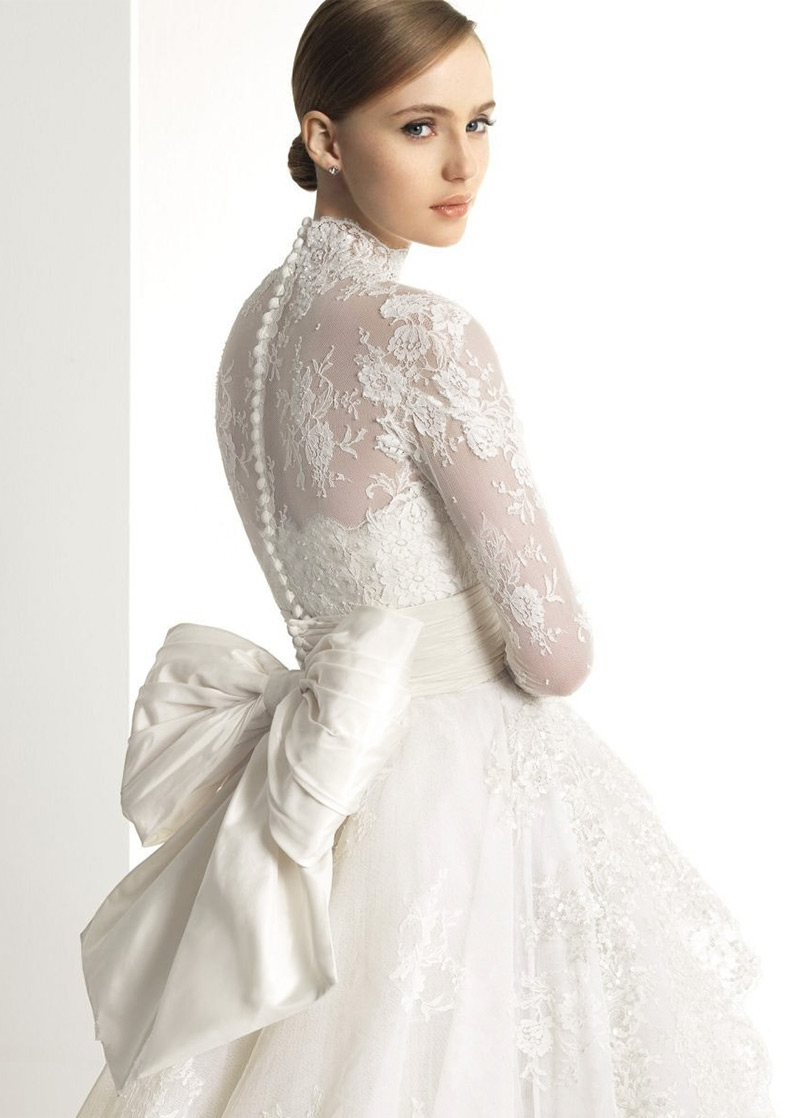 Vestidos de novia manga larga y cuello alto