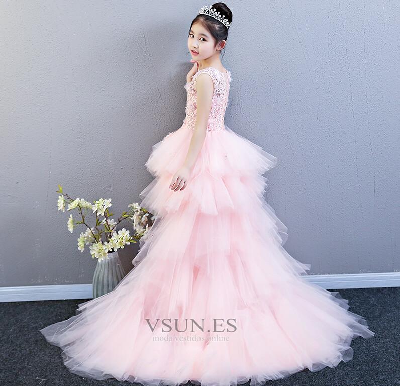 21a2a25bc Vestido niña ceremonia Cordón Asimètrico Sin mangas primavera Falta ...