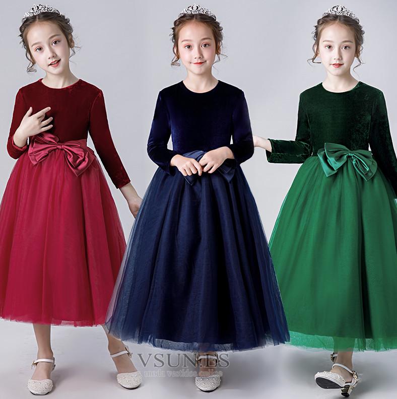 492d2c0d5 ... Vestido niña ceremonia Elegante Otoño Hasta el Tobillo Camiseta Fajas  Cremallera - Página 5