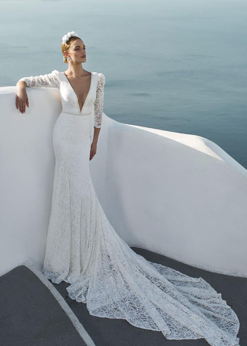 Vestido de novia Corte Sirena sexy Cola Catedral Mangas Illusion ...