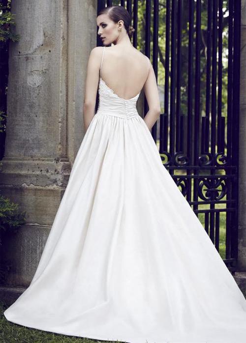 51fd801cb0270 ... Vestido de novia Sin mangas Satén Cola Capilla Natural Otoño Bolsillos  - Página 2