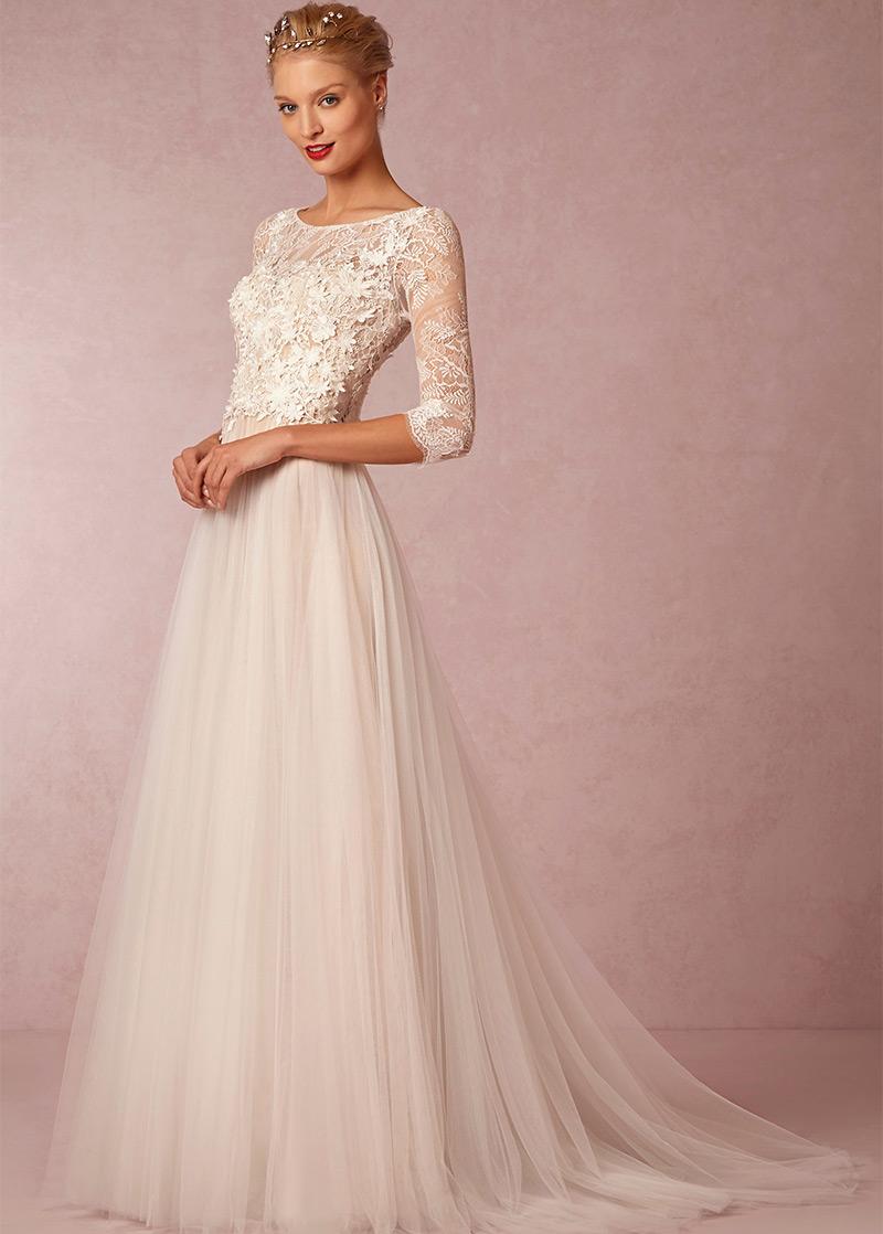 Vestido de novia Corte princesa Barco Alto cubierto Apliques Mangas ...