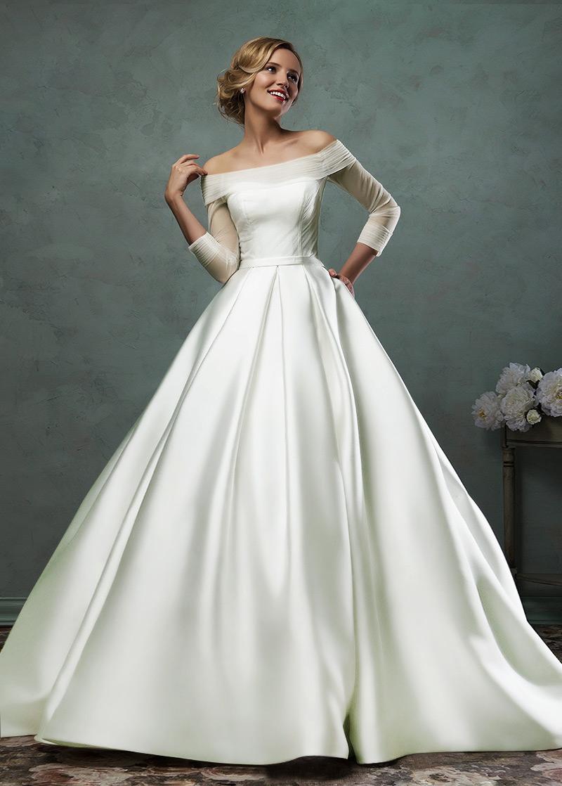 Vestido de novia Escote con Hombros cados Clasicos Satn Manga