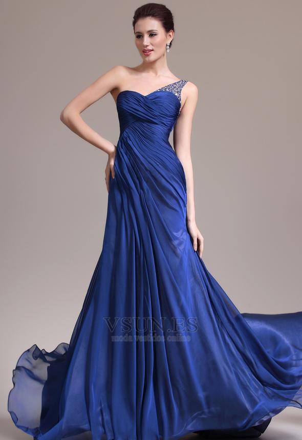 bb334aa18 Vestido de noche Sin mangas Elegante azul medianoche Pura espalda Un sólo  hombro - Página 1 ...