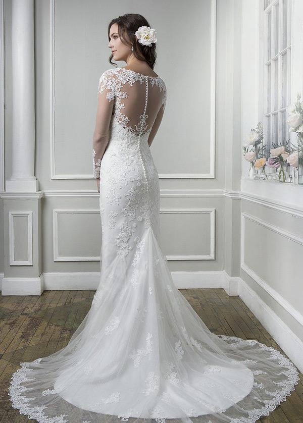 vestido de novia manga larga barco encaje natural clasicos botón