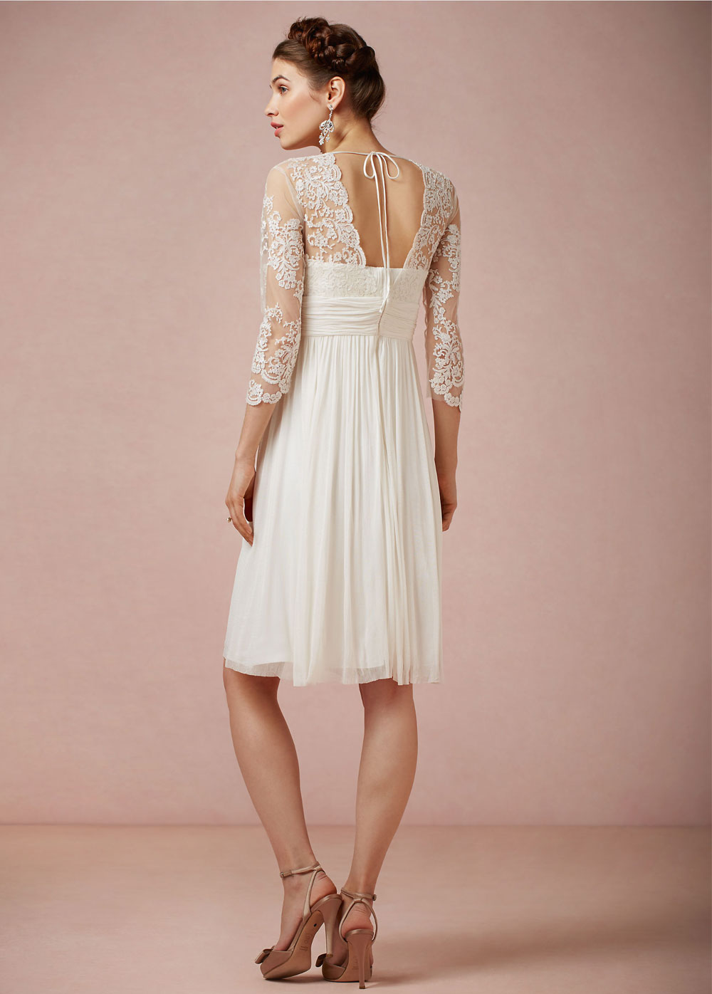 Vestido de novia Imperio Baja escote en V Glamouroso Gasa Verano ...