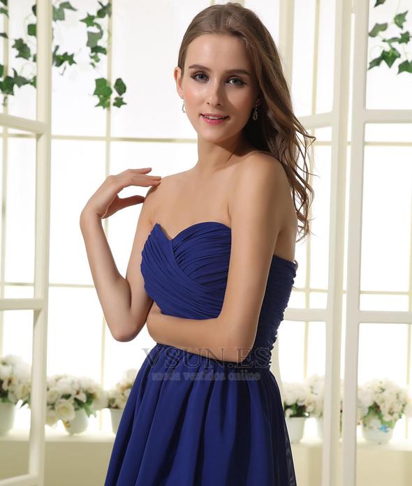 f5c74e069 ... Vestido de dama de honor Hasta la Rodilla azul oscuro Elegante Corte-A Blusa  plisada ...