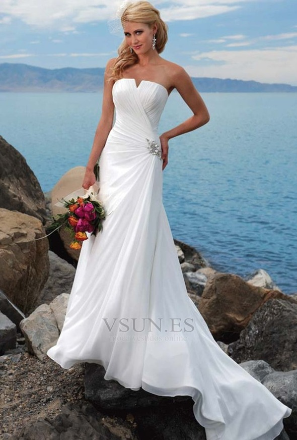 Vestido de novia para boda en la playa Escote con abertura Verano Romántico
