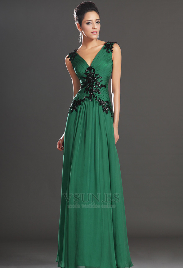 8d67f27cf ... Vestidos de noche verde esmeralda Sin mangas Hasta el suelo Baja Escote  en V - Página ...