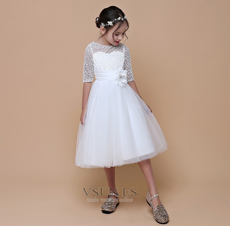c441d24c25632 Vestido niña ceremonia Natural Cremallera Mangas Illusion Arco Acentuado  Lazos - Página 1 ...