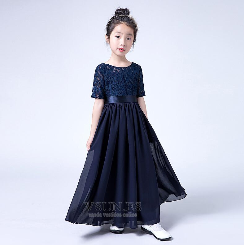 Vestido niña ceremonia Corte-A Verano Joya Hasta el suelo Manga corta Lazos  - Página ... e31a356d6b0f