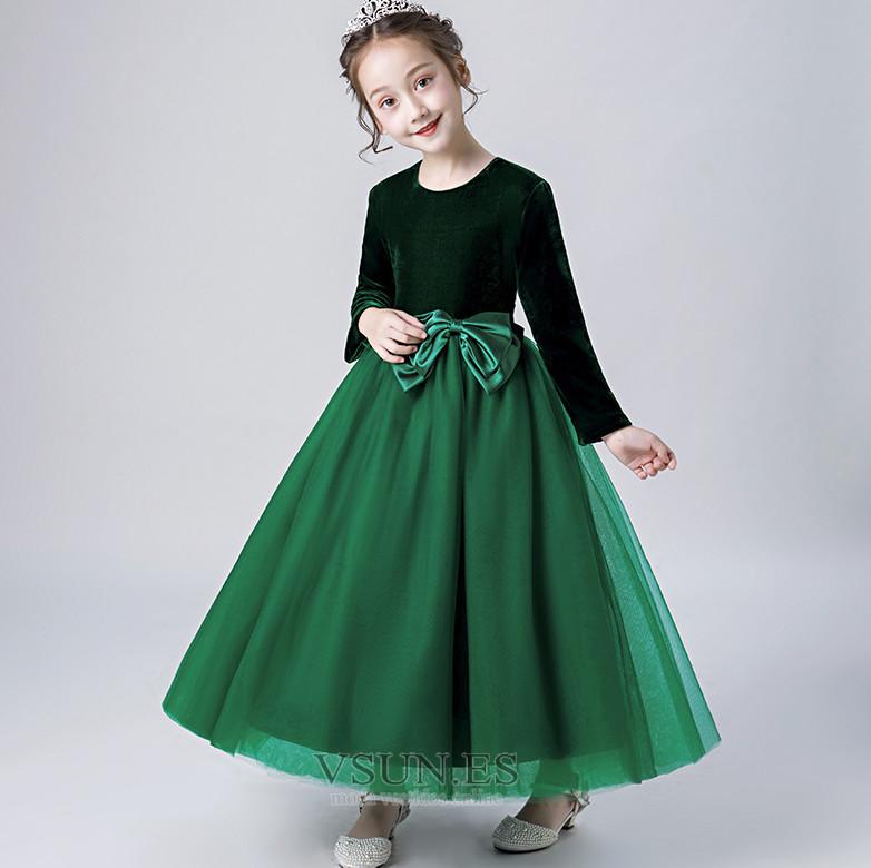 8a4283239 Vestido niña ceremonia Elegante Otoño Hasta el Tobillo Camiseta Fajas  Cremallera - Página 1 ...